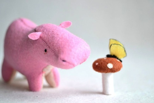 Pink Hippo by Sabina Gibson (Soft Sculpture)
