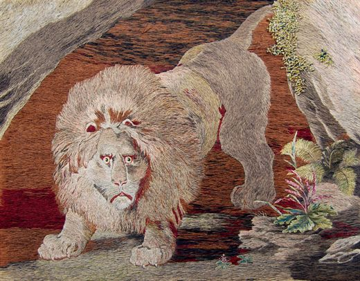 Lion Emerging From A Cave. Mary Linwood embroidery. © Leicester Arts & Museums Service