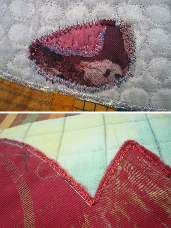 These photos show some fun ways to edge your quilt applique, using various stitches and threads. (Kreinik metallics)