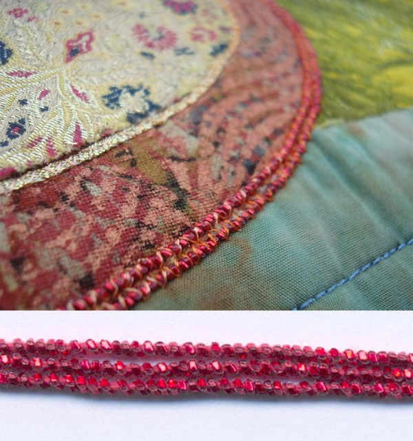 Kreinik Facets couched on Eleanor Levie's quilt