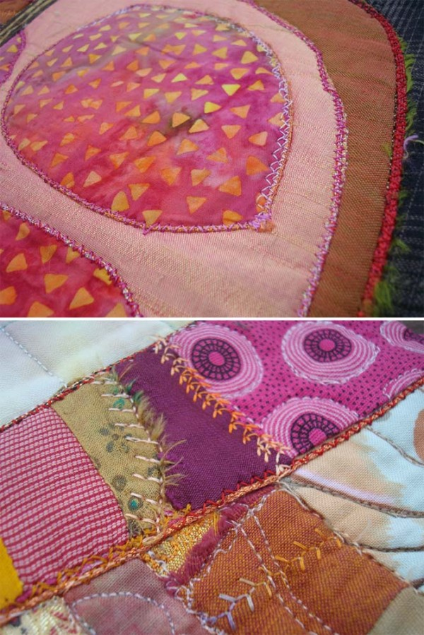 Stitch variety in Eleanor Levie's Pomegranates quilt