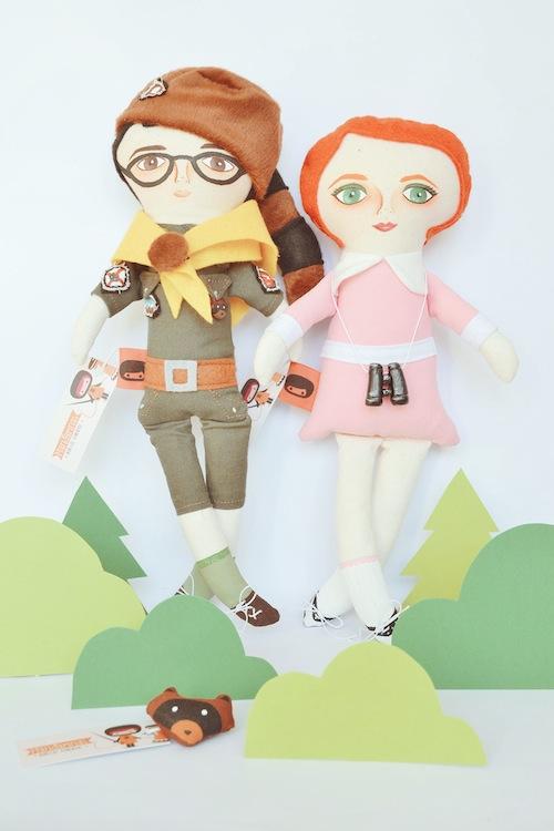 Sam & Suzy Moonrise Kingdom Dolls by Mandarinas de Tela (Soft Sculpture)