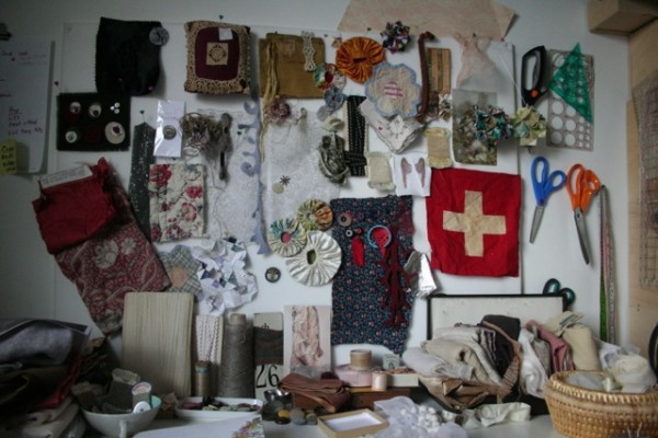 Inspiration wall and textile collections  (collection of Ruth Singer)