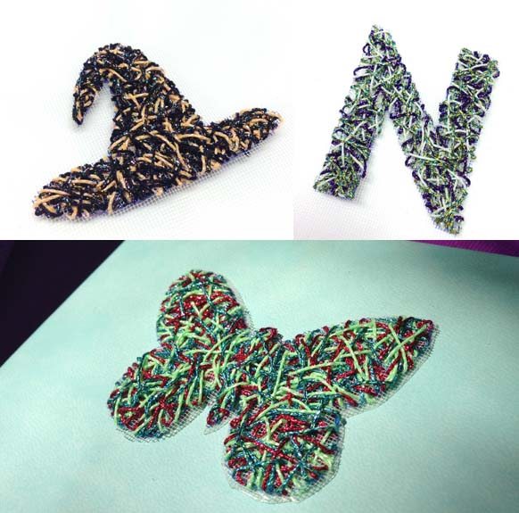 Designs from three different string art kits from Kreinik Manufacturing Company, using metallic and glow-in-the-dark threads.