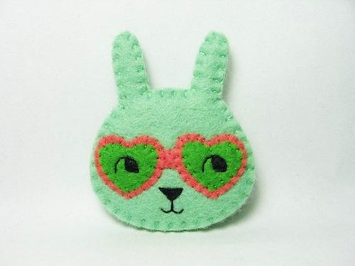 Curious Bunny Brooch by Alina Bunaciu (Hand Embroidery)