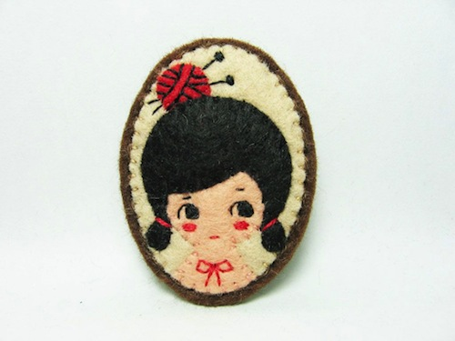 Daily Knitter Brooch by Alina Bunaciu (Hand Embroidery)