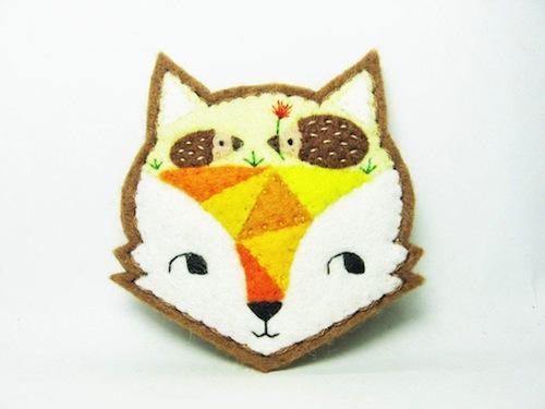 Fox Mind - The Paved Way to Hedgehog Love Brooch by Alina Bunaciu (Hand Embroidery)