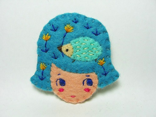 Forgotten in the Garden Brooch by Alina Bunaciu (Hand Embroidery)