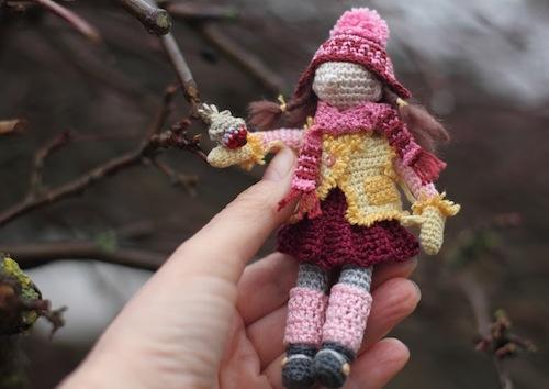 Girl and Robin Art Doll by FancyKnittles (Crochet)
