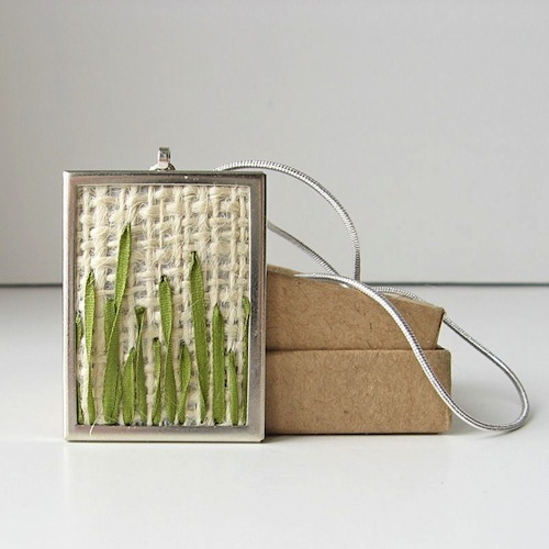 Green Grass Pendant Necklace by bstudio (Silk Ribbon Embroidery)