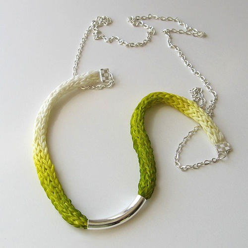 Hand dyed Silk Ribbon Necklace by bstudio (Knitted)