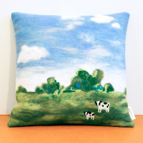 Cows on a Field Cushion by Doalittledance (Needle Felt)