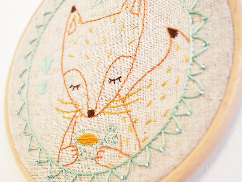 'Tea Time Fox' Hoop Art (detail) by Doalittledance (Hand Embroidery)
