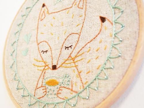 'Tea Time Fox' Hoop Art (detail) by Doalittledance (Hand Embroidery)
