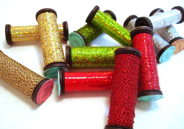 Kreinik metallic threads for very merry Christmas stitchery