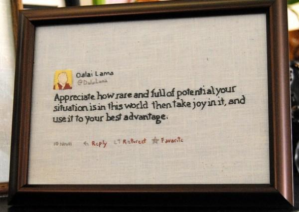 Dalai Lama embroidered tweet.