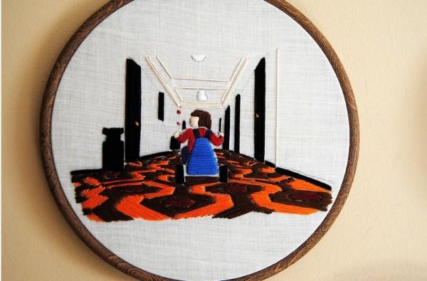 Hand embroidered horror scene.