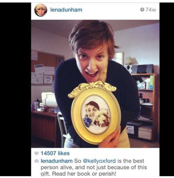 Lena Dunham. Selfie with Amy Sheridan embroidered portrait.