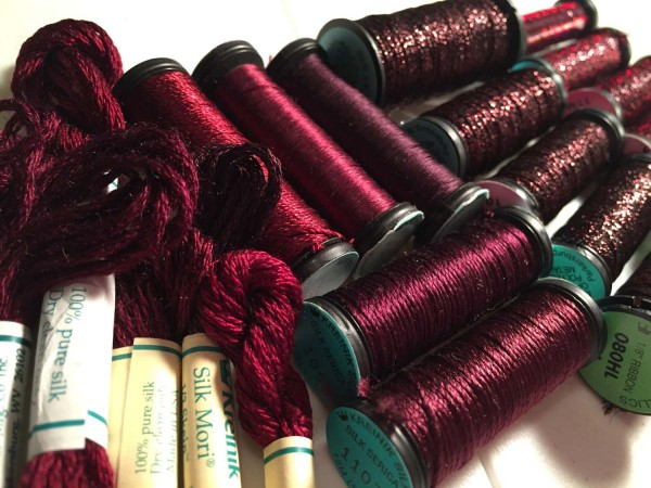 "There are several ""Marsala"" families in the Kreinik thread lines, both silk and metallic threads for hand and machine embroidery. Look for metallic colors 031L and 080HL, or silk colors 1098, 1107, 1119."