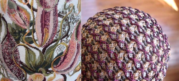 The design on the left is a beautiful needlepoint canvas by Art Needlepoint using Kreinik silk threads. The design on the right is a Tree Jewel ornament kit from Kreinik using metallic threads.