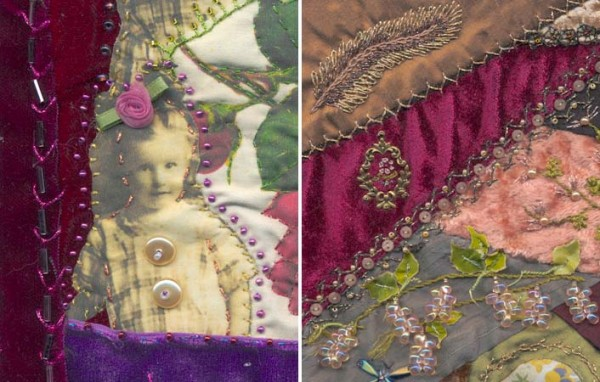 Crazy quilts by Cindy Gorder and Pat Winter showcase wine-colored fabric swatches. Notice the complementary fabric choices, beads, and thread colors which work so well. Silk and metallic hreads by Kreinik.