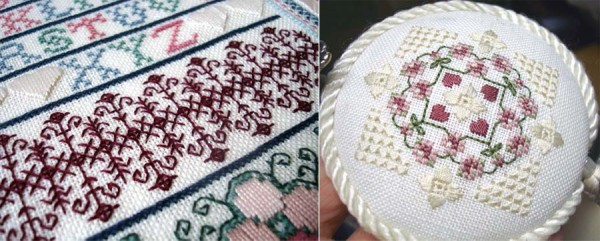 The design on the left is a sampler by Barbara Rakosnik using Kreinik silk threads. The design on the right is a free pattern on the Kreinik website (http://www.kreinik.com/shops/Floral-Medallion.html)