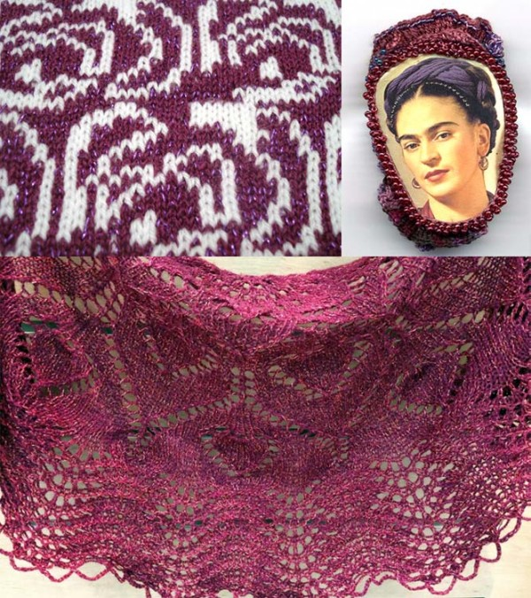 The brooch at top right was created by Gwen Blakely Kinsler with Kreinik silk threads. The shawl at the bottom is by Nazanin Fard using Kreinik Twist.