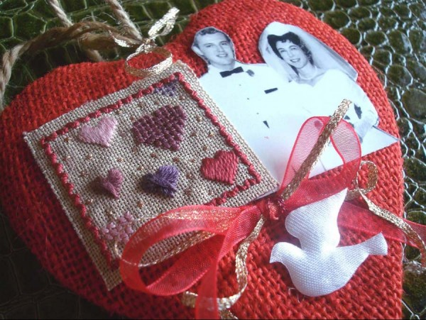 Celebrating a special couple with an silk thread embroidery project.