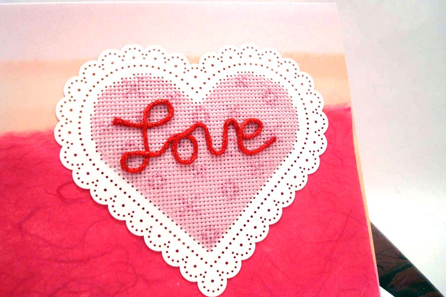 Kreinik silk and metallic threads make a sweet and simple cross-stitched heart.