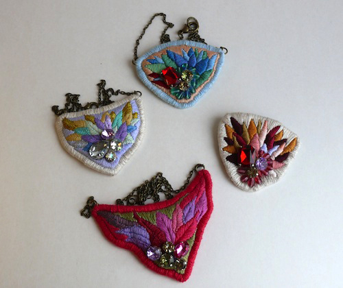 Embroidered Necklaces by Casatienda de Amelia B (Hand Embroidery)