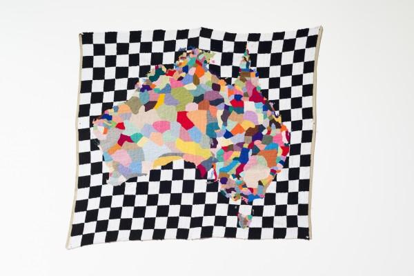 Paul Yore, Map 2012. Wool needlepoint, 101cm x 90cm. Collection Art Gallery of Wangarratta