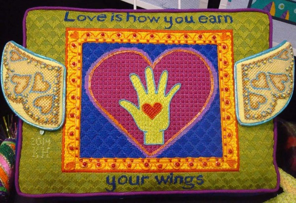 Love is how you earn your wings, needlepoint design by Zecca