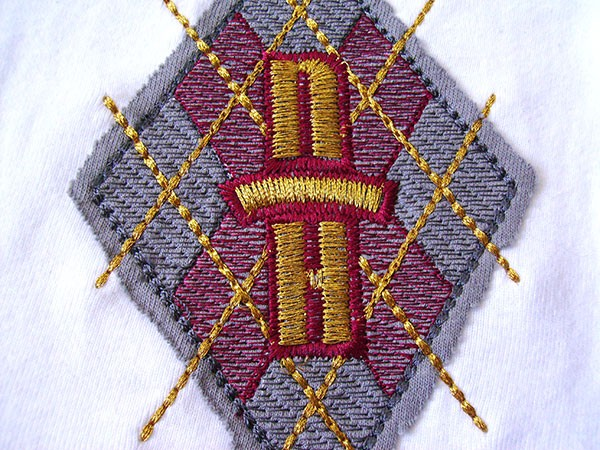 Rough-cut applique showing the use of light density fills. Machine Embroidery Density settings can be used to achieve a host of effects.