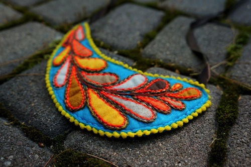 Autumn Leaves Necklace by The Neon Forest (Hand Embroidery)