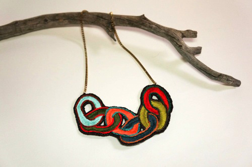 Chain Necklace by The Neon Forest (Hand Embroidery)