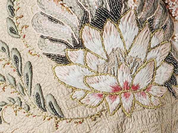 Myra Chung lotus flower embroidery detail