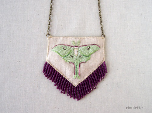 Luna Moth Necklace by Rivulette (Hand Embroidery)