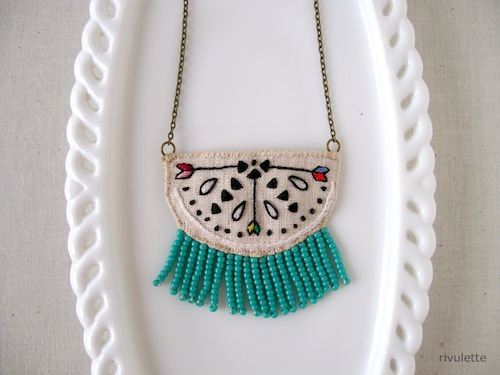Tiny Arrow Geometric Necklace by Rivulette (Hand Embroidery)