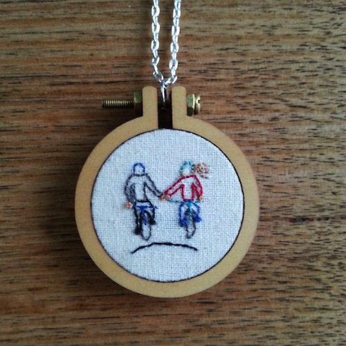 Cycling Couple Pendant by Heartful Stitches (Hand Embroidery)