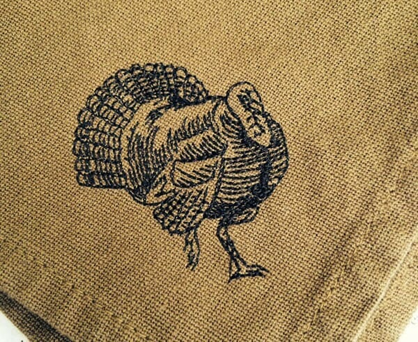 Woodcut Turkey Machine Embroidery Design on Napkin by Erich Campbell