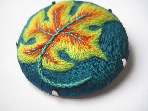 Crewel Work Leaf Brooch by Marg Dier Embroidery (Hand Embroidery)