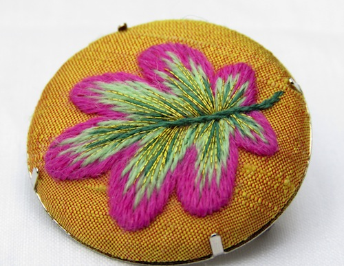 Crewelwork Oak Leaf Brooch by Marg Dier Embroidery (Hand Embroidery)