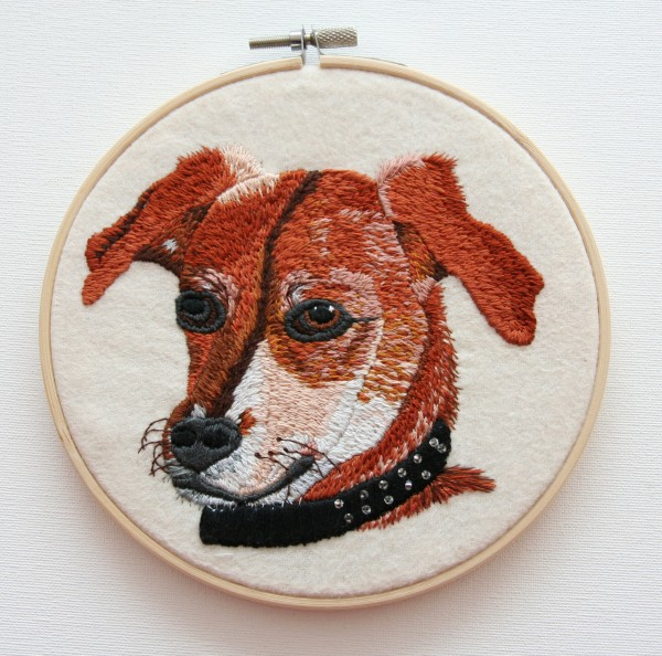 Lissy, hand embroidered portrait.