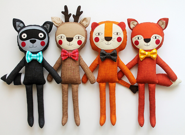 Handmade stuffed dolls by Blita.