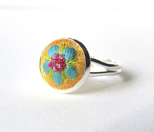 Medieval style Blue Flower Ring by Marg Dier Embroidery (Hand Embroidery)