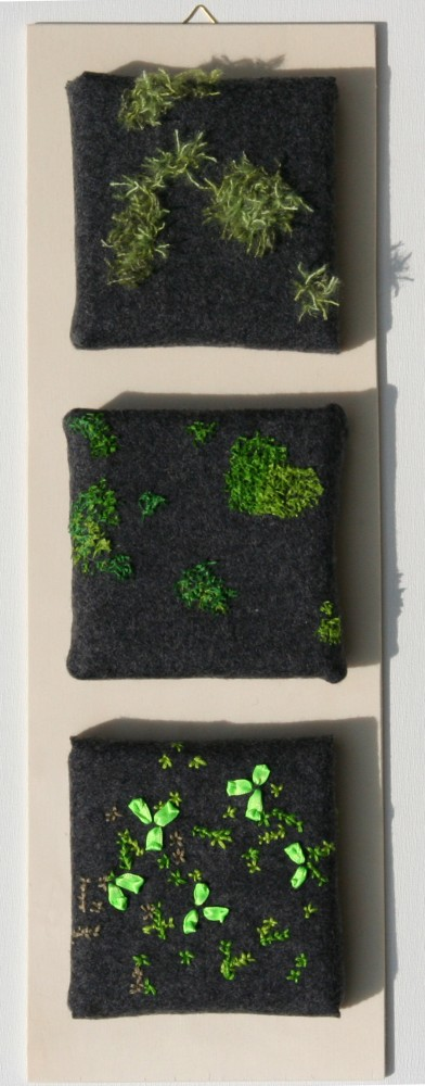 Lichen and Moss on Concrete. Hand embroidery and mixed media. 2014.