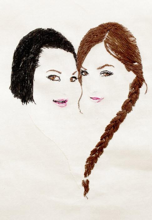 Bella Donna and Sasha Grey. Hand embroidery