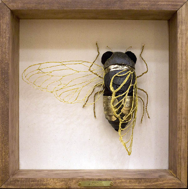 Embroidered cicada by Jenna Lagonigro
