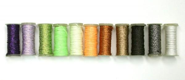 Halloween shades of Kreinik iron-on threads.