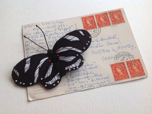 Zebra Longwing Brooch by Heather Everitt Embroidery (Machine Embroidery)